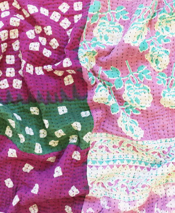 Anchal Project sustainable purple vintage sari quilt with green stripes and mint floral patterns