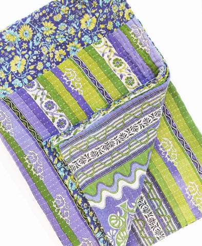 Anchal Project purple and green vintage cotton kantha quilt with decorative gold and blue floral patterns