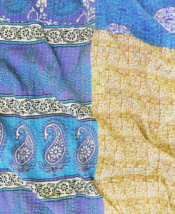 Anchal Project recycled sari blue and gold large throw with yellow kantha stitching