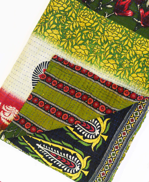 ethically made kantha quilt throw with green and red floral pattern