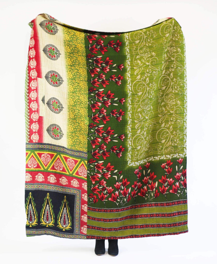 Anchal Project hand-stitched kantha quilt made from green vintage cotton saris
