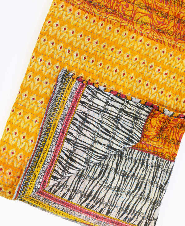 kantha quilt made from 6 layers of vintage cotton fabric