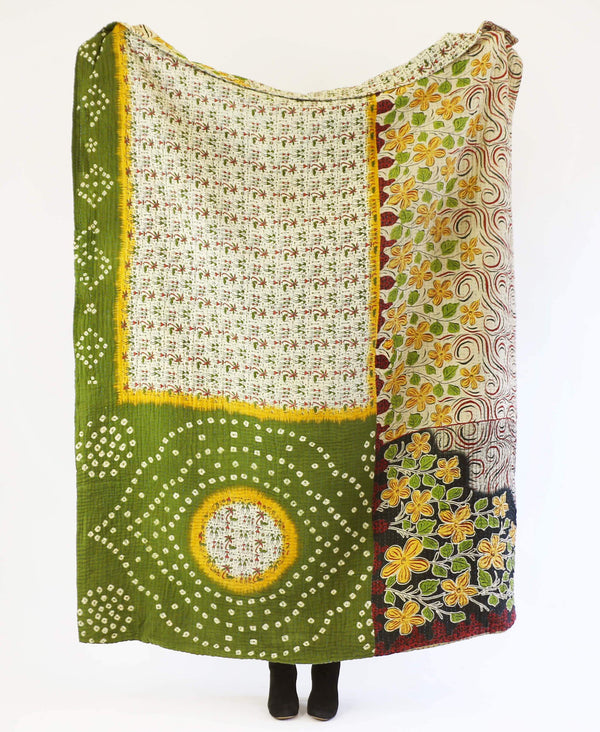 Fair Trade kantha quilt hand-stitched from six layers of vintage cotton saris