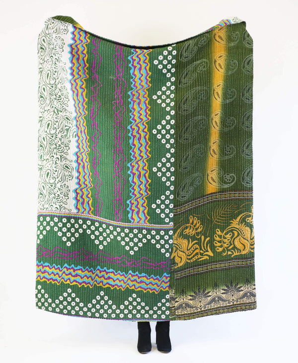 hunter green kantha quilt made by Anchal artisans