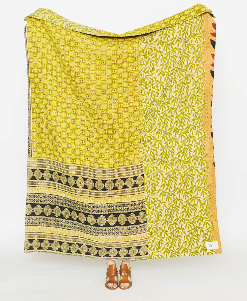 Chartreuse quilt throw made from up-cycled fabric by Anchal Artisans in Ajmer, India