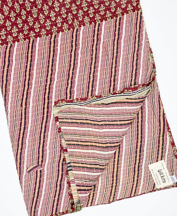 striped patchwork red kantha quilt by Anchal Project