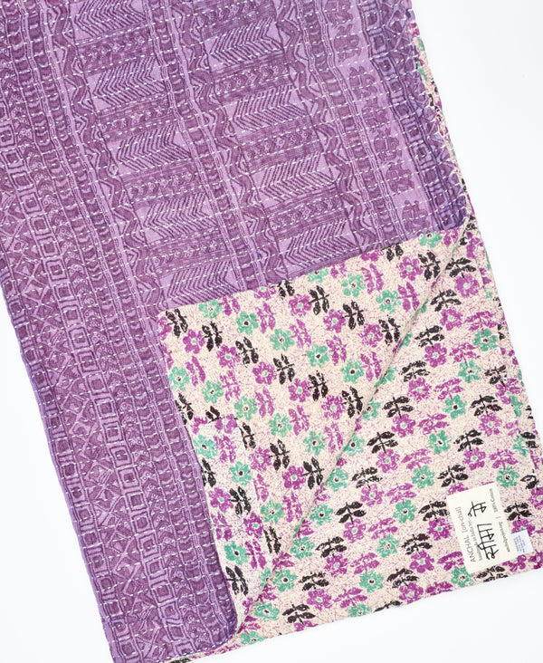 modern kantha throw blanket using traditional kantha stitching techniques