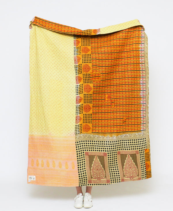 ethically made kantha quilt using vintage cotton saris by Anchal Project