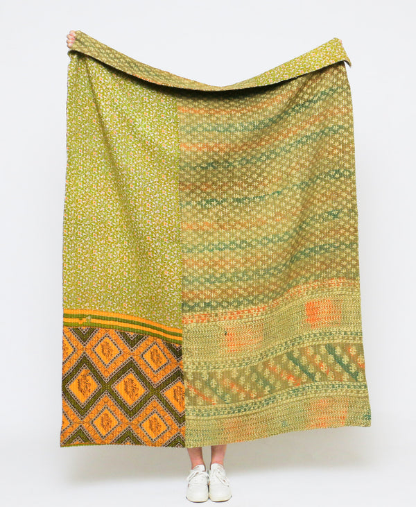 avocado green kantha quilt throw made from up-cycled vintage cotton saris