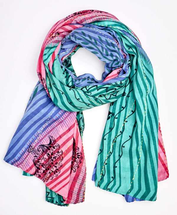 neon colored kantha scarf that has been sustainably made by Anchal aritsans