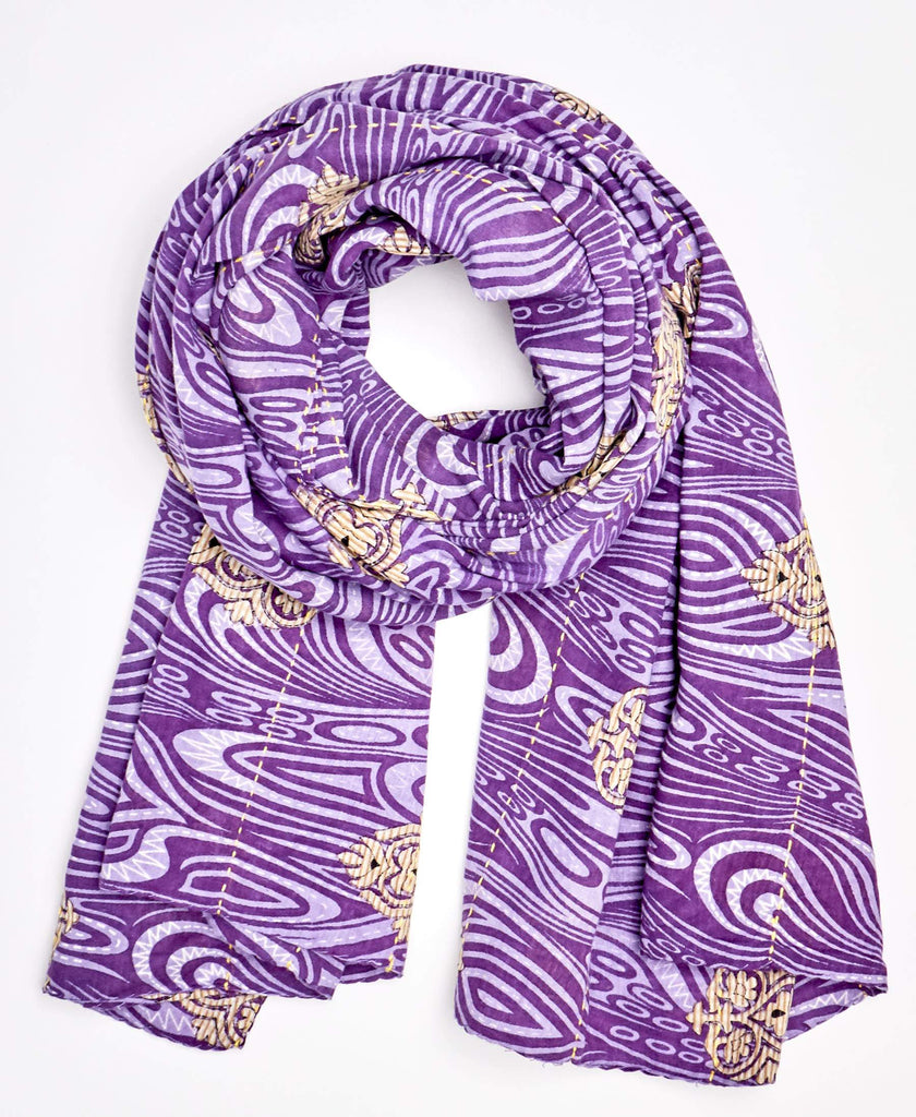 One of a kind purple neck scarf that is fair trade ceritified