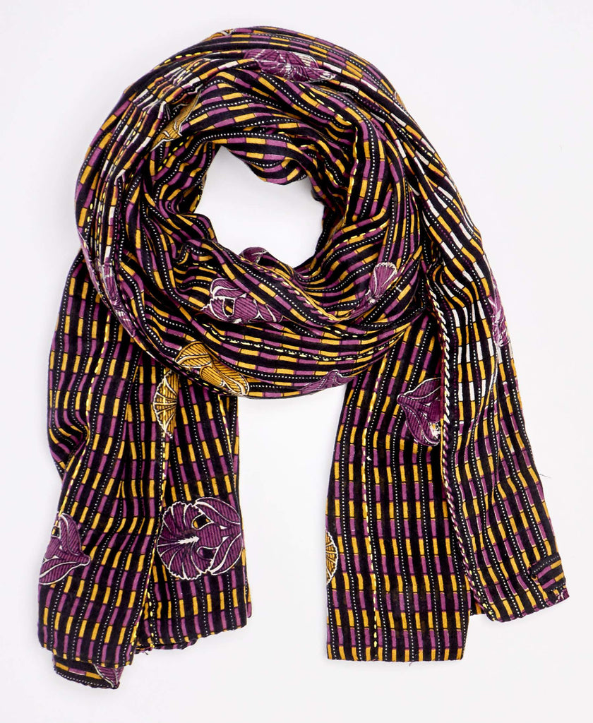 Eco friendly accessories made from upcycled brown and purple vintage sari