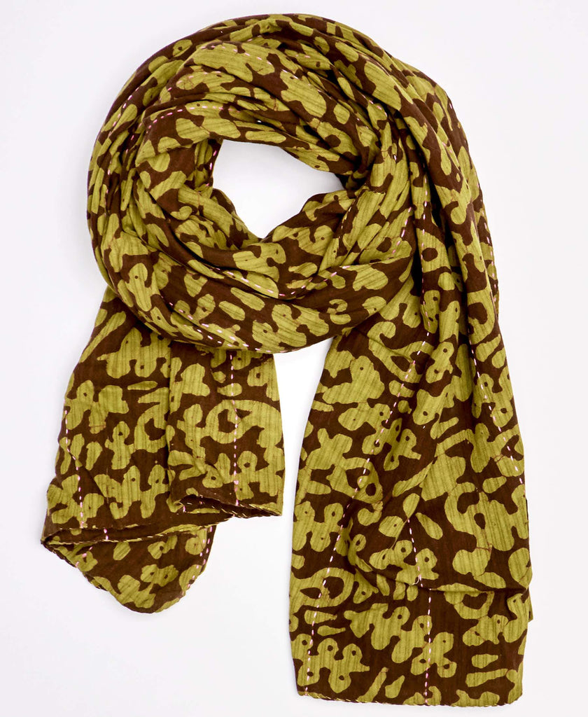 lime green and brown scarf made from vintage saris and detailed kantha embroidery