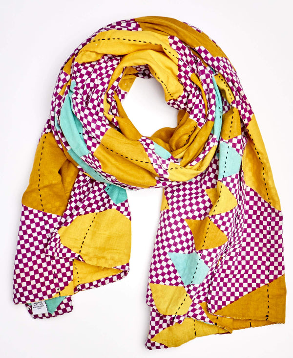 purple, yellow, and turquoise  neck scarf made from vintage saris