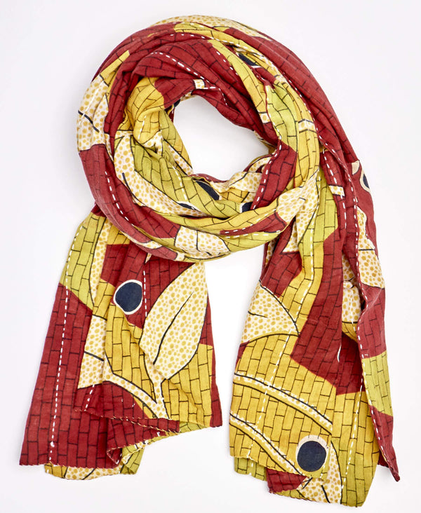 Fair trade certified kantha scarf that is handmade by Anchal artisans in Ajmer, India
