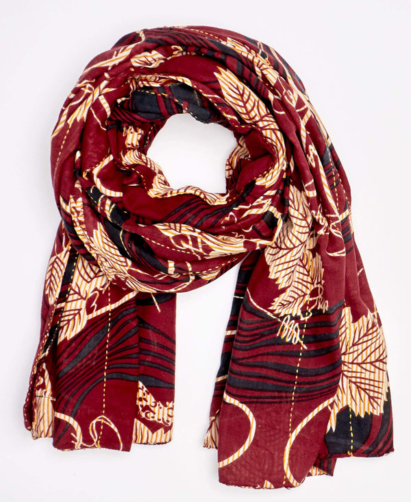 marron floral pattern scarf made by hand by Anchal artisan in Ajmer, India