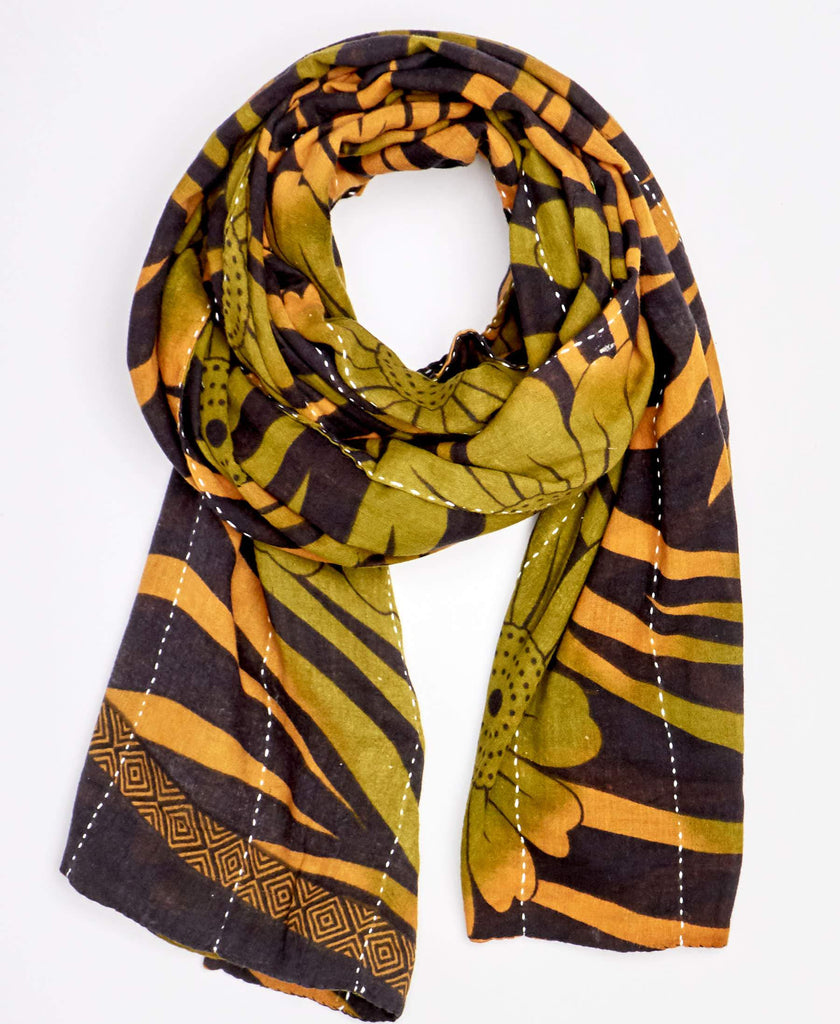 black, yellow, and green handmade scarf with kantha embroidery