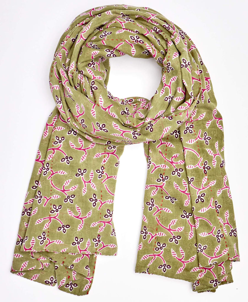 Pistachio scarf with floral detailing made from upcycled materiasl