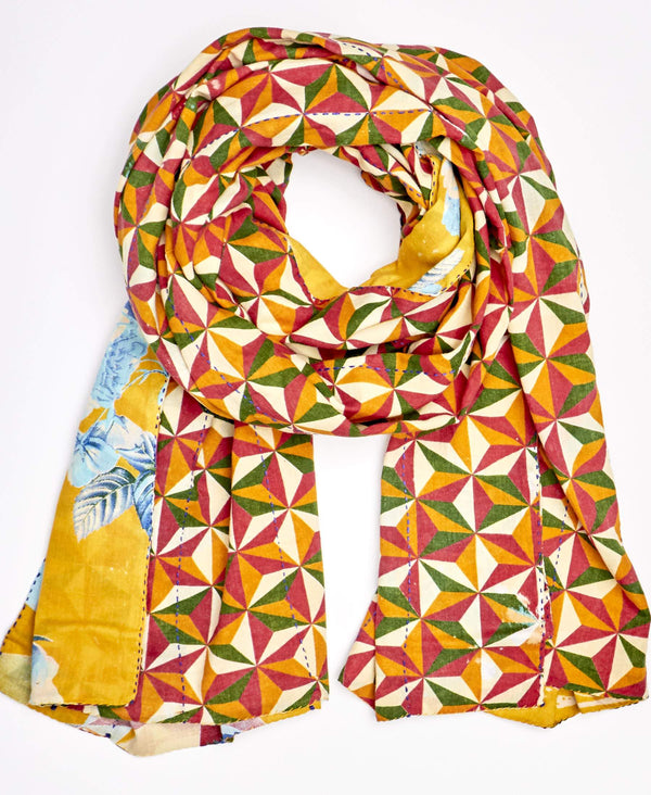 rainbow colored kantha scarf with geometric patterns