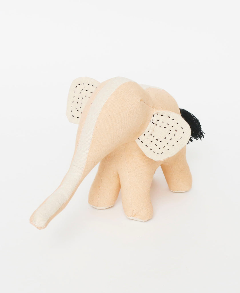 Light ivory Fair Trade elephant toy made from organic cotton