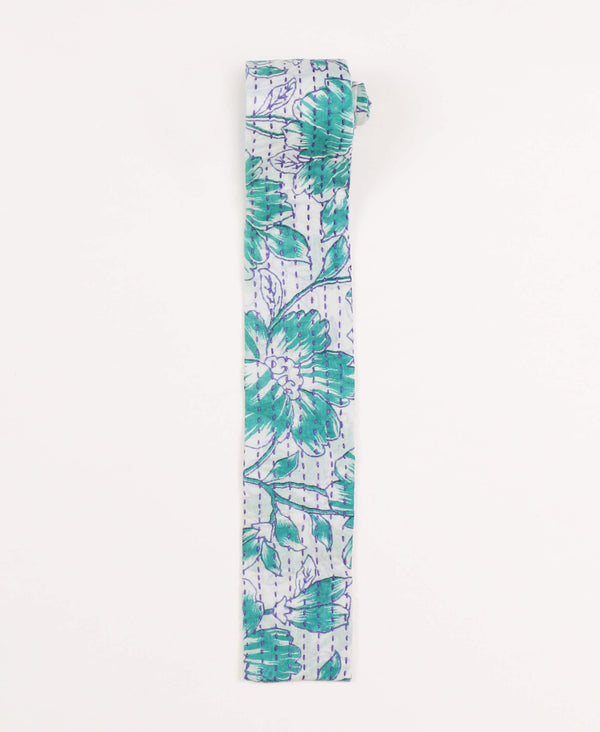 teal floral kantha cotton tie by Anchal Project