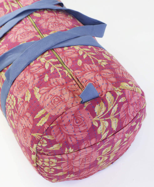 Anchal weekender duffle bag made with pink floral vintage fabrics