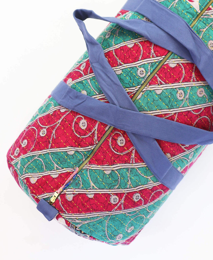 red and green striped gym bag made from vintage saris