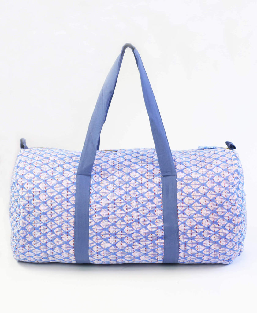 light blue Anchal Project kantha duffle bag