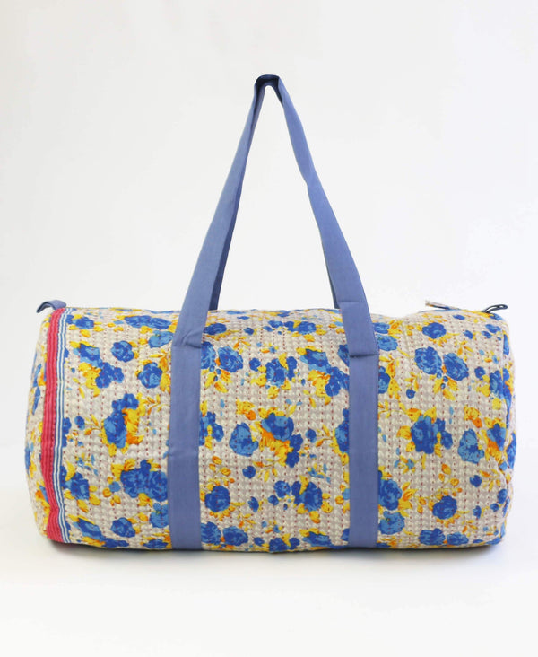 blue floral canvas kantha duffle bag