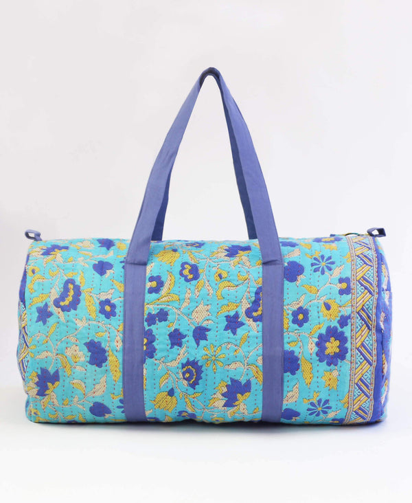 blue floral kantha duffle bag by Anchal