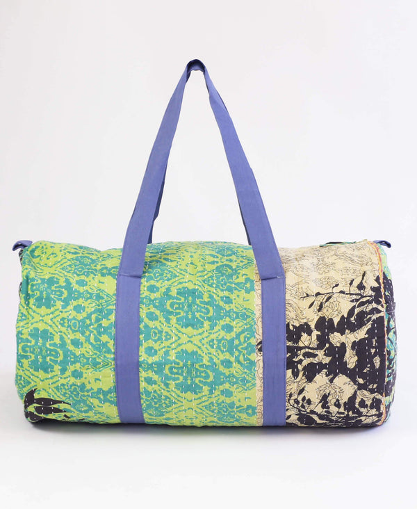 green ikat canvas duffle bag made from repurposed vintage fabrics