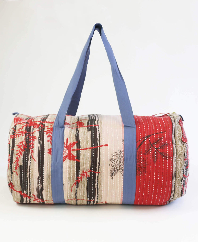 red and black striped kantha duffle bag