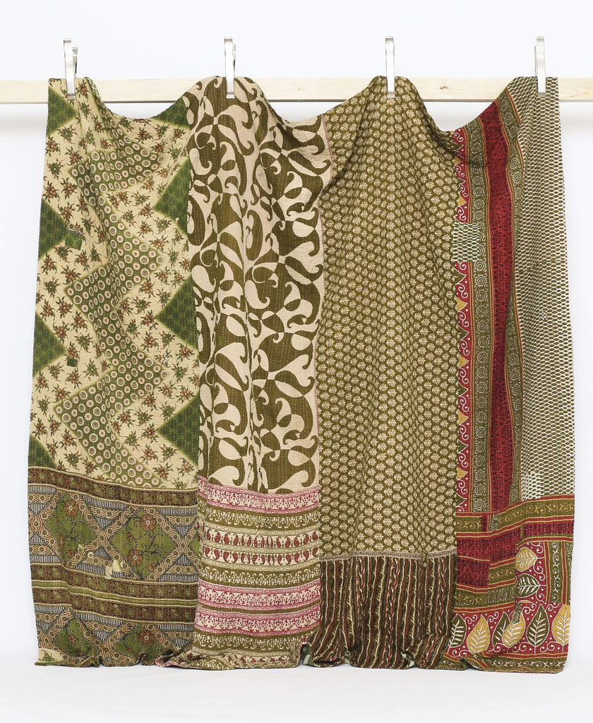 green king size kantha quilt made in India by Anchal Artisans