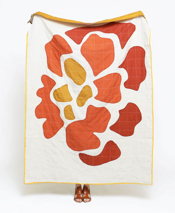 marigold bloom quilt throw by Anchal Project