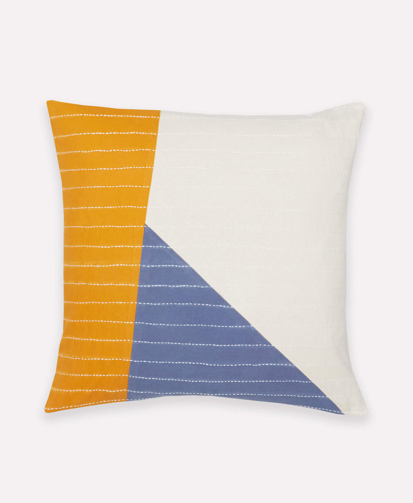 Color Block Asha Toss Pillow with hand embroidered traditional kantha stitching tencniques