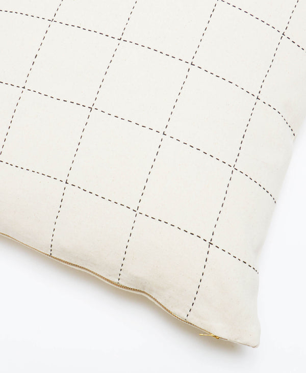 organic cotton throw pillow with minimalist grid design and removable down feather pillow insert