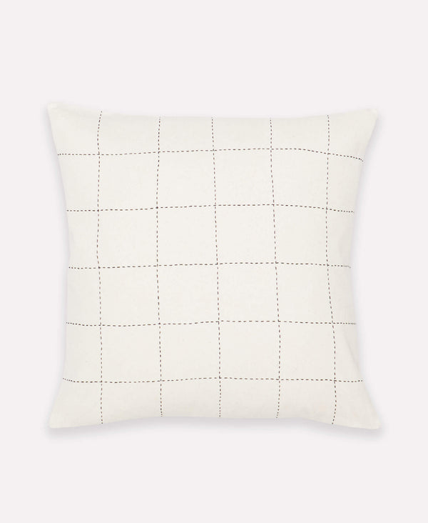 Anchal Project contemporary accent pillow with hand-embroidered grid pattern
