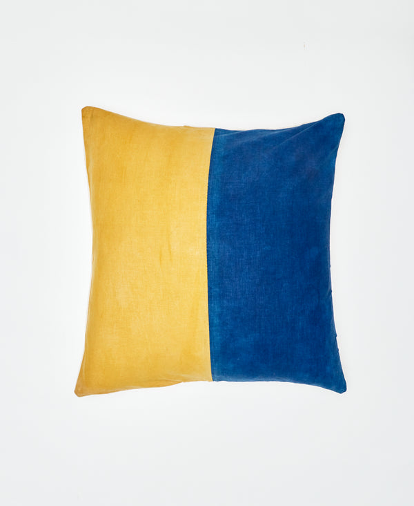 Medium Indigo and Marigold Color Block Pillow - Seconds