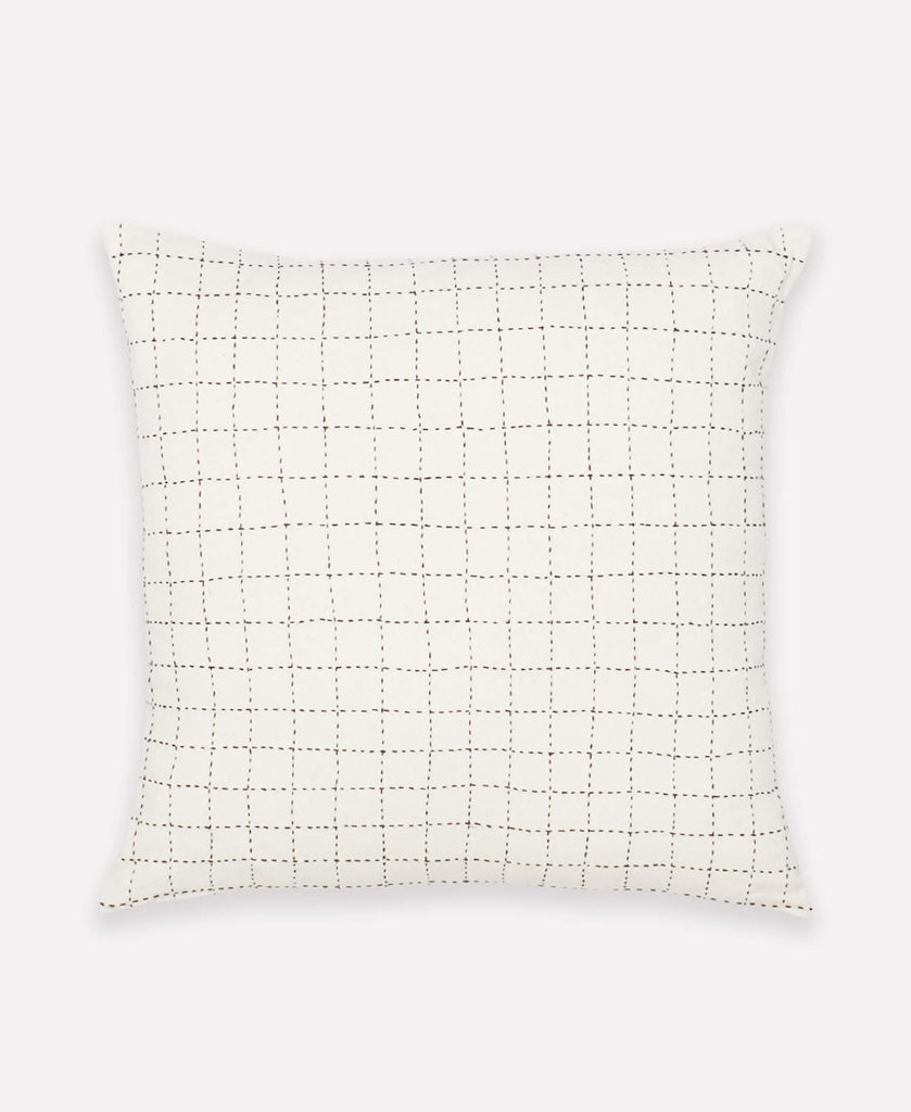 contemporary geometric throw pillow with hand-embroidered grid pattern