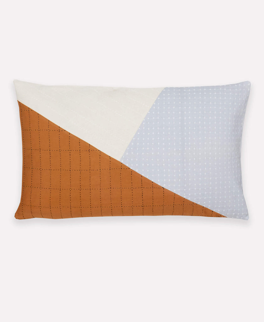 Handmade Naari lumbar pillow with colorblock detail