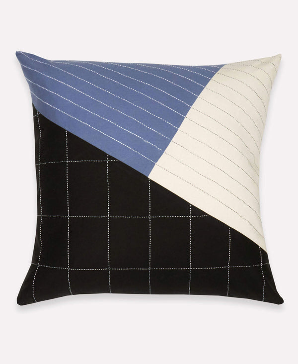 modern embroidered grid pillow made from organic cotton by Anchal Project