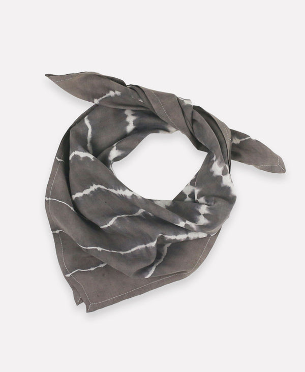Naturally dyed cotton bandana with tie-dye print