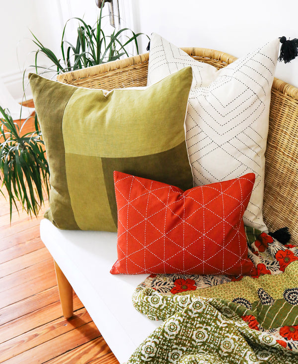 Naturally Dyed Colorblock Throw Pillow - Green