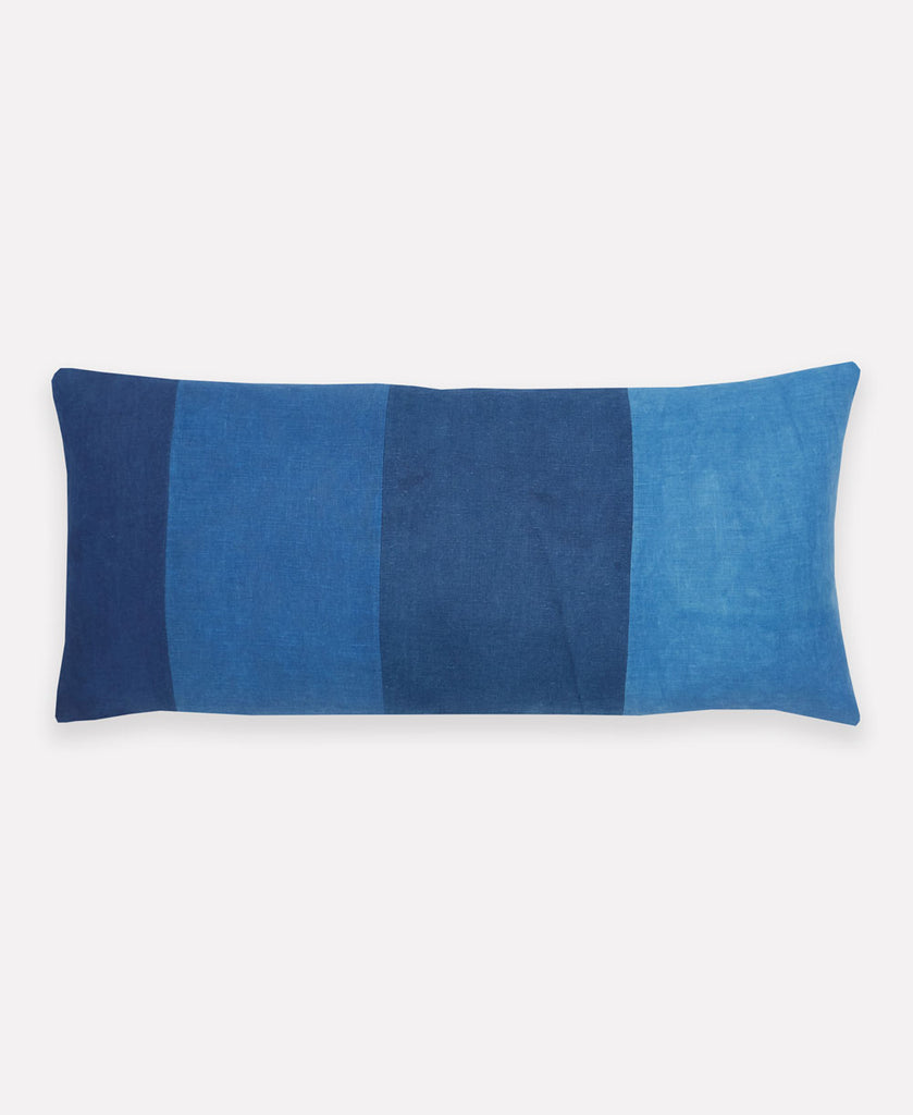 indigo blue colorblock decorative throw pillow made using natural plant dyes