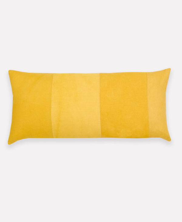 naturally dyed linen throw pillow with colorblock design by Anchal
