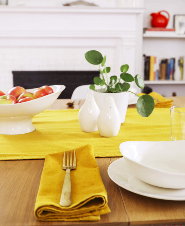 eco-friendly cotton napkin pairs perfectly with coordinating table runner
