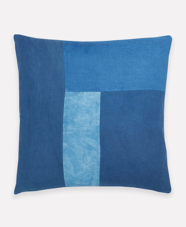 naturally dyed blue throw pillow dyed from indigo leaves