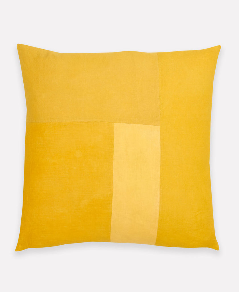 mustard yellow throw pillow made using natural plant dyes by Anchal