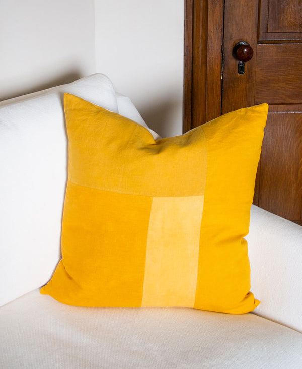 yellow linen throw pillow dyed using plants and flowers