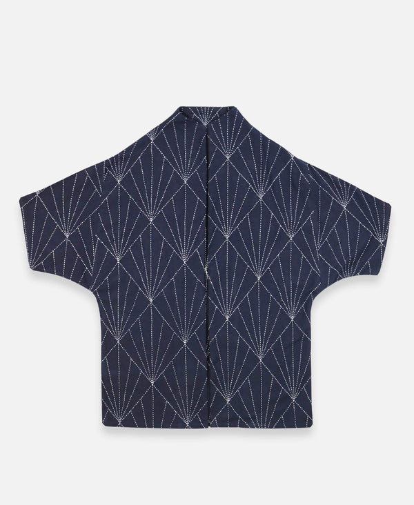 navy blue modern cocoon jacket with hand-stitched pattern